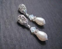 Swarovski Crystal White Opal and Pearl Drop Earrings/ Bridal Jewelry/ Bridesmaid Jewelry/ Pearl Earrings/ Opal Earrings