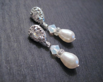 Swarovski Crystal White Opal and Pearl Drop Earrings/ Bridal Jewelry/ Bridesmaid Jewelry/ Pearl Earrings/ Opal Earrings
