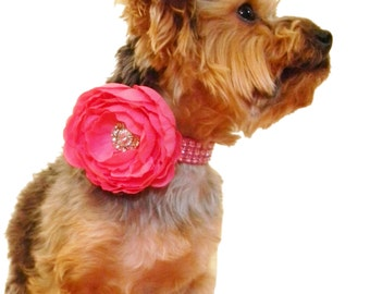 Pink Rhinestone Dog Collar Flower Set,  Dog Collar Flower: Pink on Pink Rhinestone