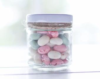 140 x 100ml small round glass jars - White / Gold / Black lids - DIY wedding favours / Bomboniere / Bonbonniere