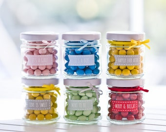35 mini 100ml round glass jars with STICKERS! - Perfect DIY wedding or party favours!