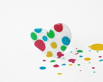 """Heart ring / OOAK polymer clay ring, valentines gifts, rainbow polka dot / """"My Happy Heart"""" /"""