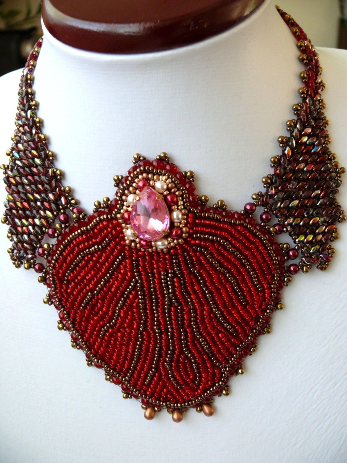 Bead embroidered necklace embroidery seed beaded by
