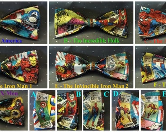 BowTies Made From Marvel Comics Fabric - 7 Stylish SEWN-BY-HAND Vintage Comic Bow Ties to Choose From - U.S.SHIPPlNG Never More Than 1.99