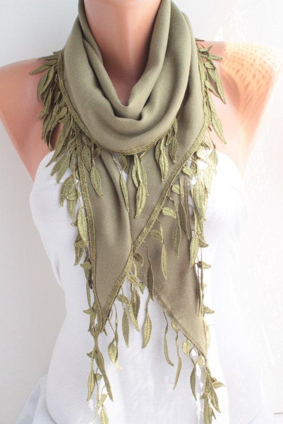 Green Pashmina Shawl/ Scarf  Lace Scarf Lace Edge