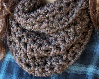 Chunky brown neck warmer wood crochet winter scarf handmade crocheted cowl neckwarmer brown textured  infinity