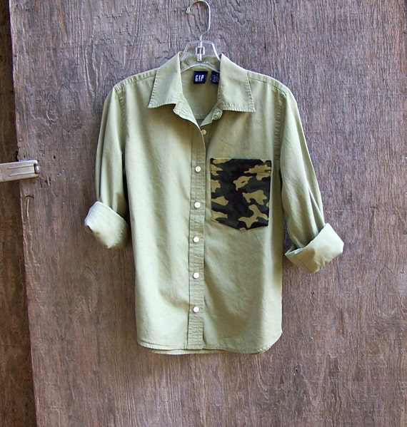Olive green chambray camo pocket button up cotton shirt long for Olive green oxford shirt