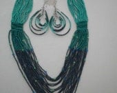 vintage  SET Turquois Glass Bead Necklace &  Pierced Earrings