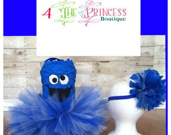 Blue monster tutu outfit , Cookie Monster , corset top , tutu , bow , tutu dress , Halloween , birthday , pageant , clothes , toddler