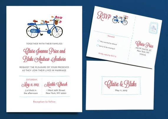 Tandem Bike Wedding Invitations: Bicycle Built For Two Wedding Invitation Suite By