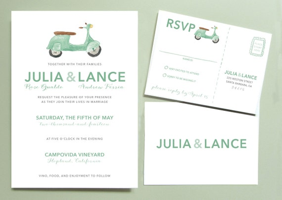 Vespa Scooter Wedding Invitation, Italian Wedding Invitation, Vespa Wedding Invite, Mint Green Vespa Wedding Stationery, Wedding in Italy
