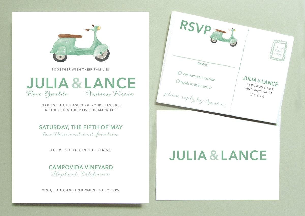 Italian Wedding Invitation: Vespa Scooter Wedding Invitation Italian Wedding Invitation
