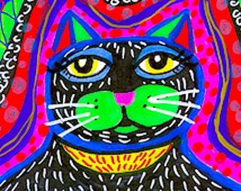 Funny Cat Art, Cat Face, Cat Print, Girls Room, Cat Portrait, Black Cat, Children's Room Decor, Black Green Cat Face by Paula DiLeo_0901108
