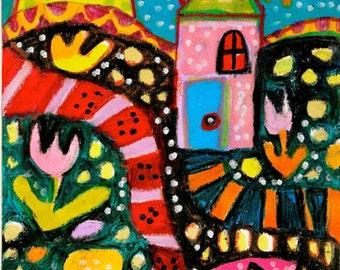 Whimsical Art Print, Children's Room Decor, Whimsical Landscape Art, Art For Kids, Colorful Art, Happy House by Paula DiLeo_21114