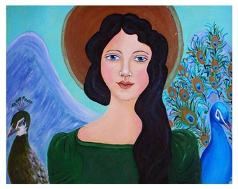 Priscilla, The Balancing Angel Of Masculine and Feminine Love An Original Fine Art 8 by 10 print called by Charlotte Phillips