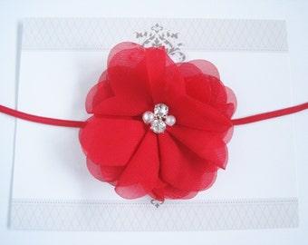 Red Chiffon Headband Headband, Baby Headbands, Newborn Headbands, Infant Headbands, Baby Girl Bow, Infant Hair Bow,