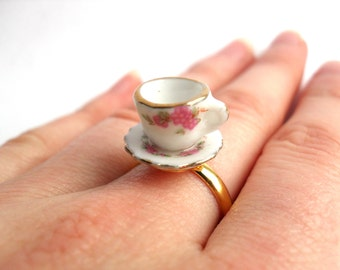 SALE Ceramic tea cup ring with pink flower pattern
