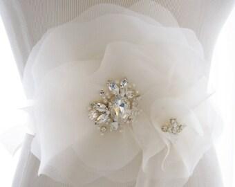 Silk Organza and Rhinestone Bridal Sash, wedding sash, bridal belt, rhinestone wedding belt