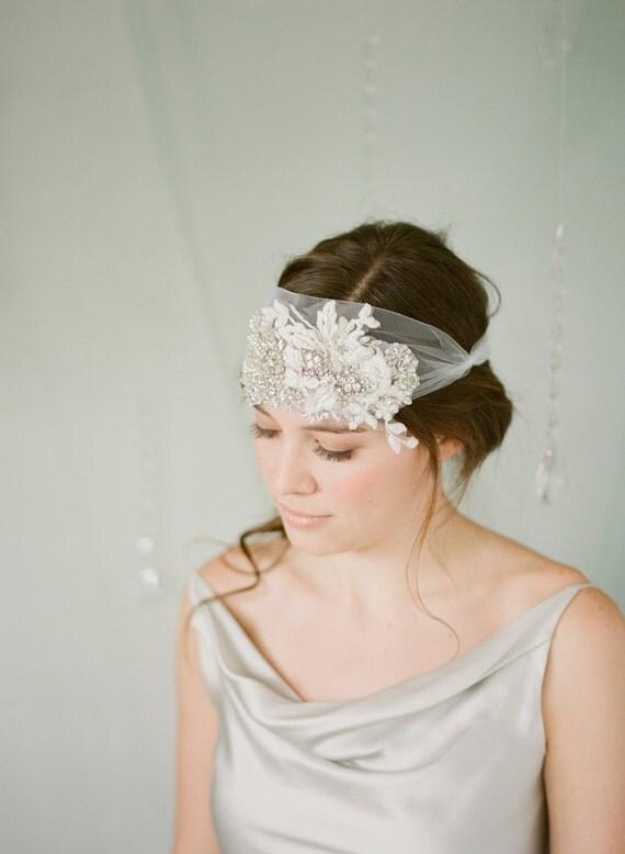 Rhinestone Crystal and Lace Bridal Bandeau Headband, Bridal Headpiece rhinestone headpiece, crystal bandeau, bridal bandeau
