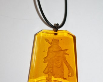 Vintage Cameo Pendant Necklace Intaglio Amber Glass  Reversed Carved Glass 1970s Jewelry
