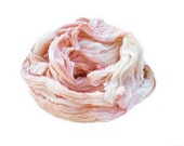 peach silk scarf - Honeysuckle Rose -  light, peach, coral, off white, cream, ecru silk scarf.