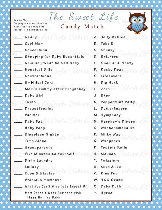 game printable baby shower games and activities blue brown owl