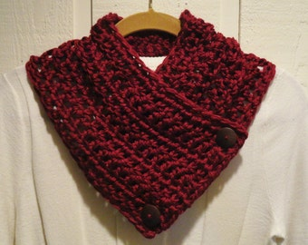Crochet Scarflette Cowl Wine Burgundy Two Wood Buttons CLASSIC Style Neckwarmer Scarf