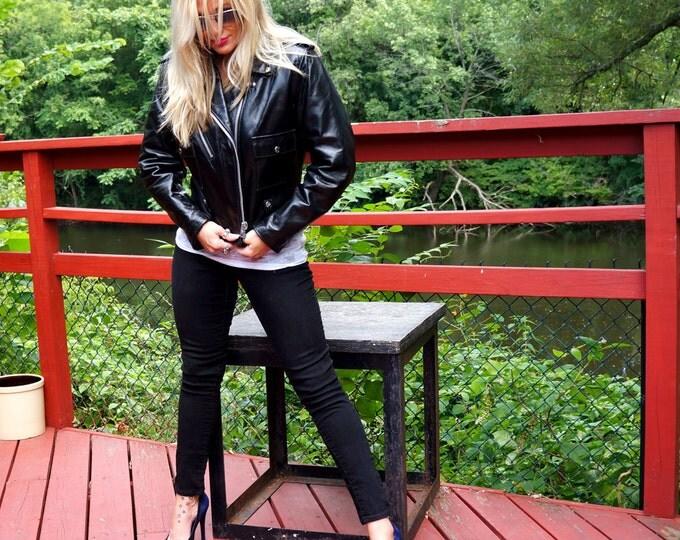 Harley Davidson Motorcycle Jacket 1970s Vintage Black Leather Jacket Mens Size 38 Biker Jacket Retro Moto Jacket AMF Harley Davidson Unisex