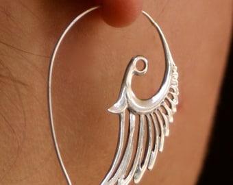 feather earrings - silver hoop earrings - wing earrings - Solid Sterling Silver - feather