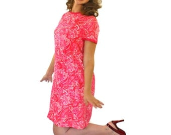 60s Pink Dress by I.Magnin. Paisley Mod Dress Shift Dress. Valentine's date Silk Dress Mini Dress Mad Men Fashion. Candy pink Spring fashion