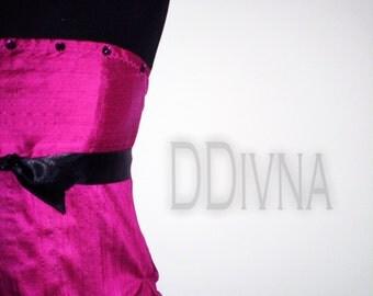 Coctail party wedding prom Corset straight neckline dress of dupioni purple mangenta pink Italian silk