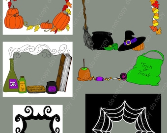 7 Halloween Frames Clip art  Pings and Photoshop Brushes Set /Chalkboard/ Overlays / Digital Stamps / Digital Scrapbooking