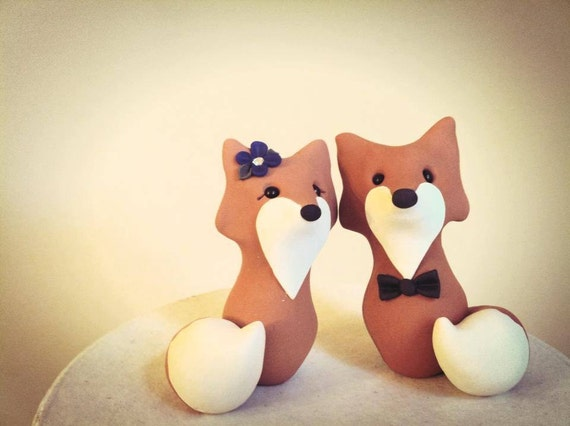 Fox Custom Wedding Cake Topper by LuLuAmour on Etsy