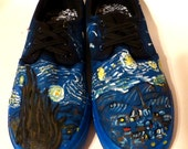 Custom painted Van Gogh starry starry night mens size 8 and a half sneaker SALE