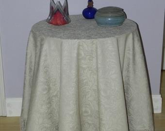 Cream Damask Linen Table Skirt