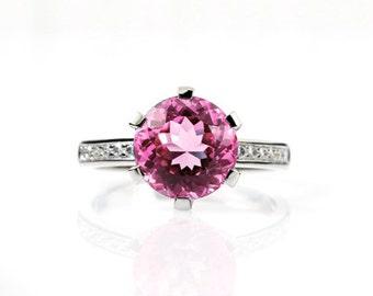 Pink Tourmaline ring, Diamond, White gold, Engagement ring, Solitaire, Pink, Diamond engagement, Pink tourmaline, thin engagement, deep pink