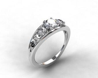 diamond filigree engagement ring, white gold ring, unique diamond wedding, trinity, vintage style, lace, diamond ring, custom, anniversary
