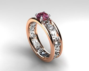 Pink sapphire ring, Rose gold, filigree, diamond ring, engagement, lace, Pink engagement, sapphire, wedding ring, two tone, anniversary