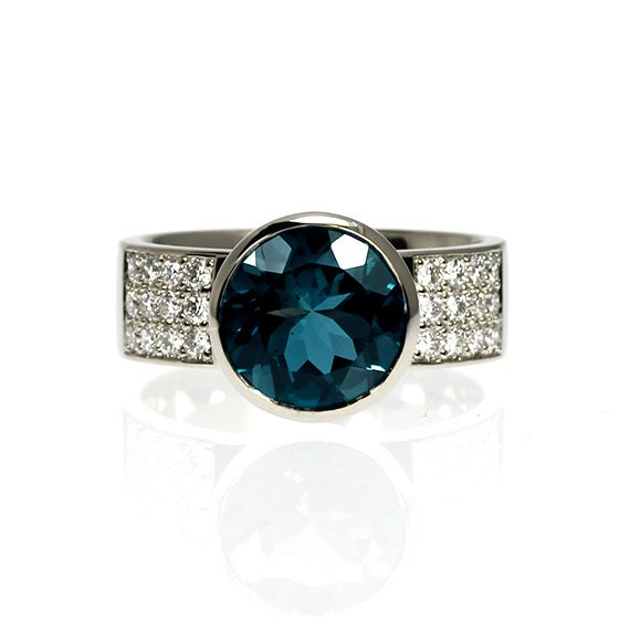 4 41ct London blue topaz engagement ring diamond ring teal