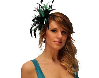 Navy Blue & Emerald Green Feather Fascinator Hat - wedding, ladies day - choose any colour feathers and satin