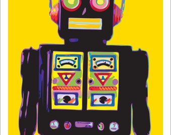 Retro Robot Personalized with Your Color Choice Vintage Robot Art Print