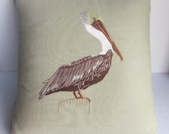 Vintage Embroidered Pelican Pillow, Taupe Pelican Pillow, Coastal Decor, Bird Pillow