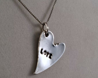 Silver Heart Pendant,  Recycled Silver Pendant