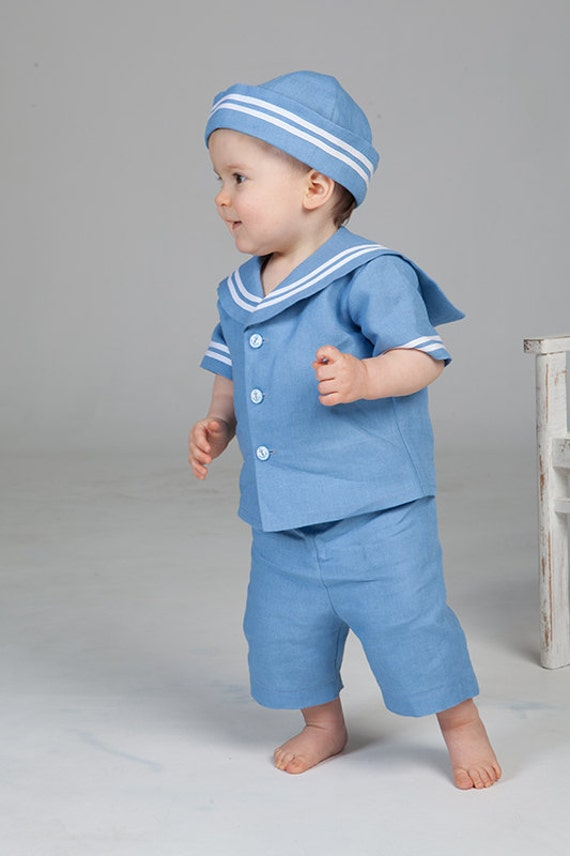 Items Similar Baby Boy Sailor Outfit Baptism Linen Suit