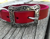 Red Leather Collar for Small Dogs with Western Buckle