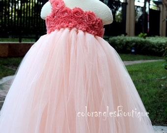 Flower Girl Dress peach coral tutu dress baby dress toddler birthday dress wedding dress 1T 2T 3T 4T 5T 6T- 9T