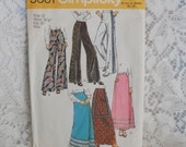 1970's Simplicity Maxi Skirt and Bell Bottom Pants Size 12  5361 Vintage Sewing Pattern