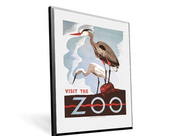 Vintage WPA Poster Visit the Zoo Birds on 9x12 PopMount Ready to Hang FREE SHIPPING 310330912