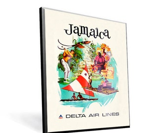 Vintage Travel Poster Delta Airlines Jamaica on 8x10 PopMount Ready to Hang FREE SHIPPING
