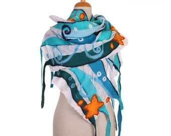 SALE! nuno felted scarf, blue ocean - silk and wool nuno felted scarf, felted shawl, felted wool scarf by inmano